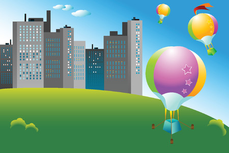 colorful hot air balloons flying over the city Vector