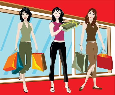 ilustración detallada de la mujer tres con los bolsos de compras