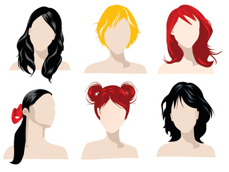 illustration of female hair styles with different colors Stock Vector - 758115