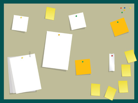 notify: illustration of note papers and post-its on a board