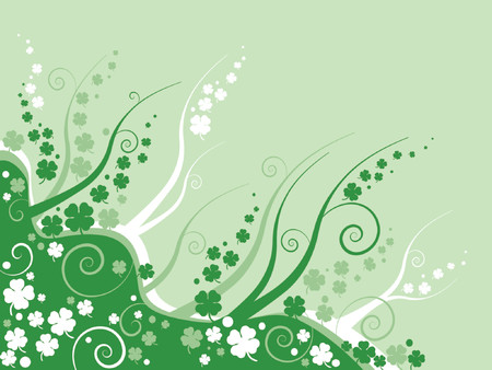 clover leaves on abstract green background, st patricks day background Vector