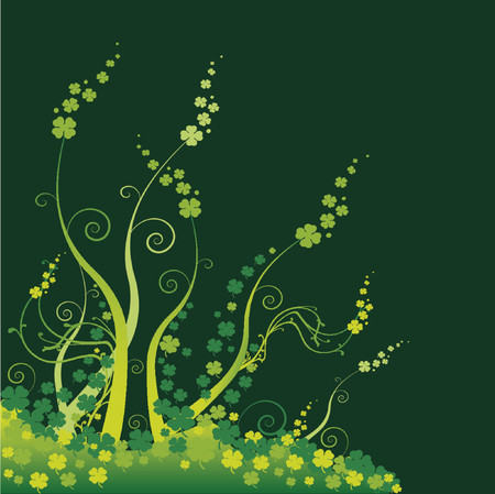 green clovers for St Patricks Day, abstract background Illustration