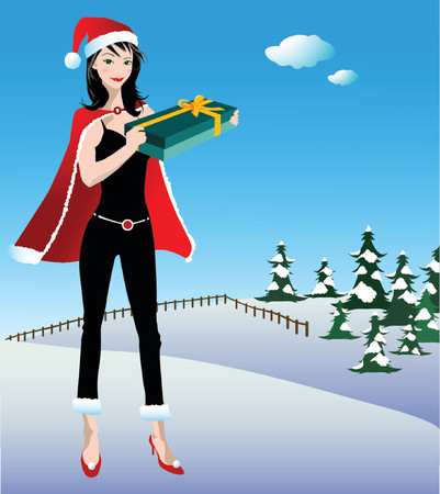 illustration of a sexy woman on a christmas scene Vector