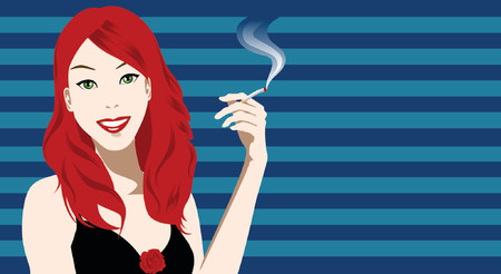 smoking a cigarette: illustration of a woman holding a cigarette Illustration