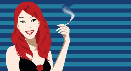 chica fumando: la ilustraci�n de una mujer ocupe un cargo de cigarrillos  Vectores