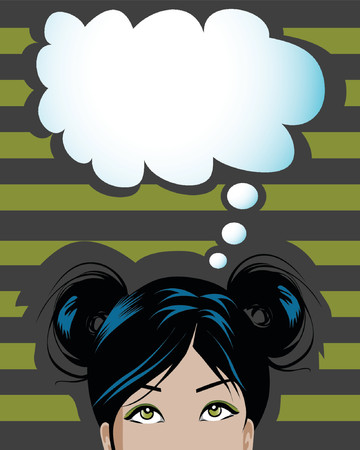 illustration of a woman having a thought balloon Vector