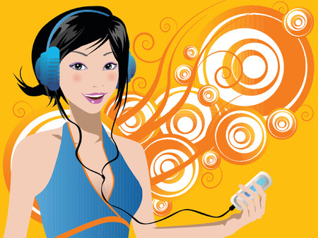 illustrated woman listening mp3 player Stock Vector - 825944