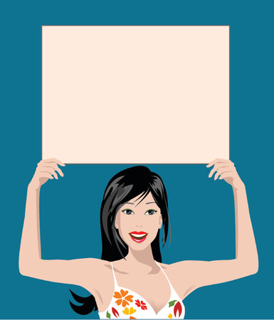 illustrated woman holding blank sign Vector