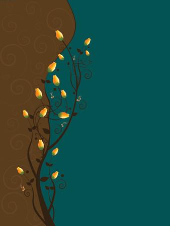 thorn bush: illustration of roses on vine