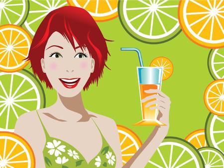 illustration of a woman holding orange juice Stock Vector - 825848