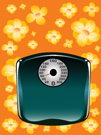 bathroom weight scale: illustration of a bathroom scale on floral background