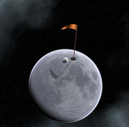 extreme science: golf ball hole and flag on moon surface Stock Photo