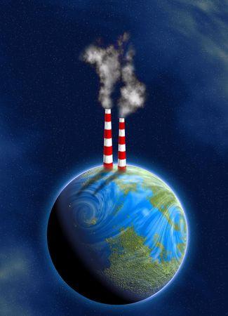 illustration of industrial chimneys on earth surface illustration