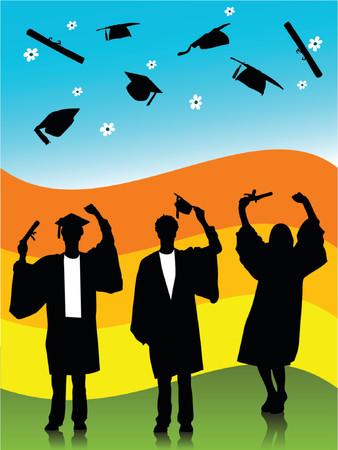 graduados: ilustraci�n de los graduados, siluetas  Vectores