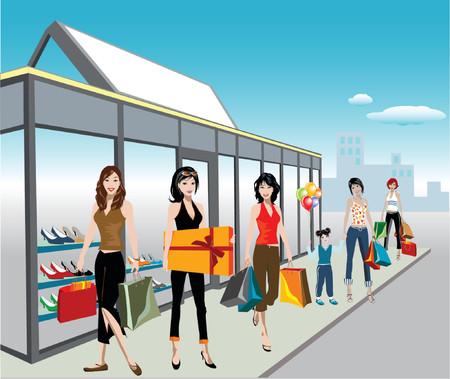 girls night: detailed illustration of shopping