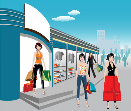 detailed illustration of shopping Vector