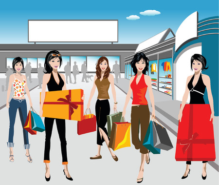 sexy woman standing: detailed illustration of shopping