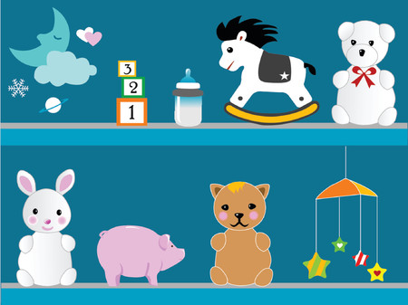 illustration of   toys on the wall Vector
