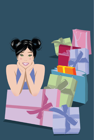 Illustration of woman with lots of gifts Stock Vector - 866788