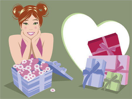 Illustration of woman with lots of gifts Stock Vector - 866789