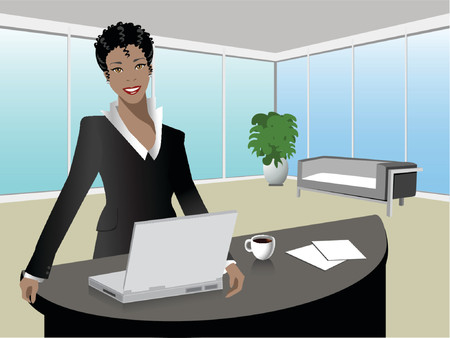 manager: black woman manager in a modern office