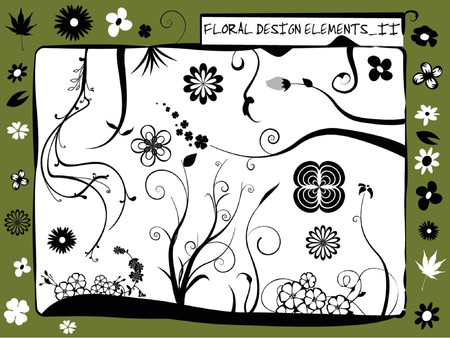 collection of floral silhouettes, stems, swirls and flowers