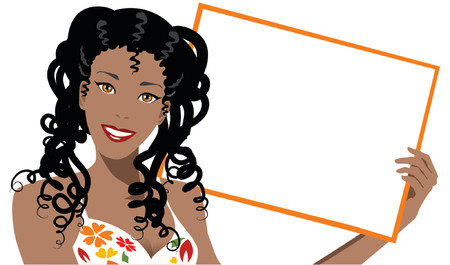 afro girl: illustration of a black woman holding blank board