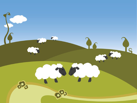 sheeps: illustration of black sheeps on a hill