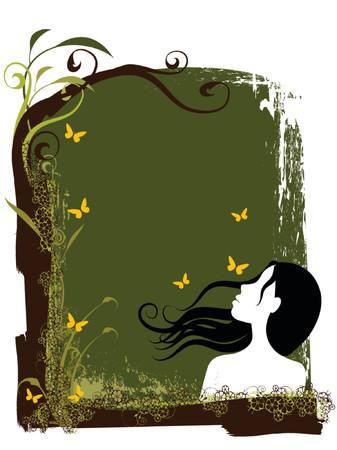 illustration of a woman silhouette with floral elements Illustration