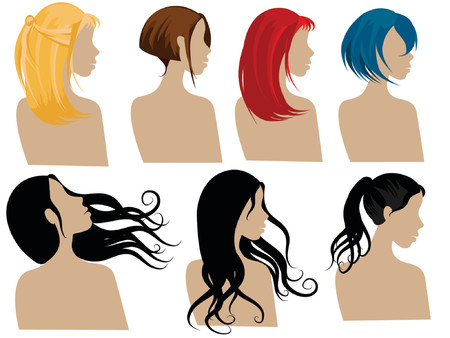 hair colors: illustration of female hair styles with different colors