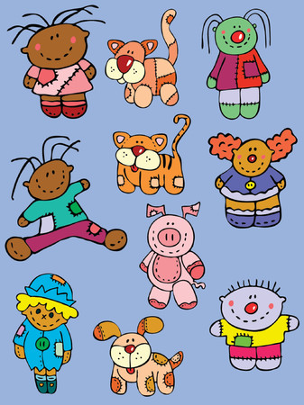 collection of stuffed animal toys for kids Illustration