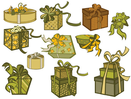 wrap vector: variety of gift boxes in different shape and color Illustration