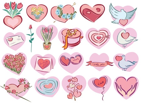 illustration of valentine icons in pink heart shape Stock Vector - 1200577