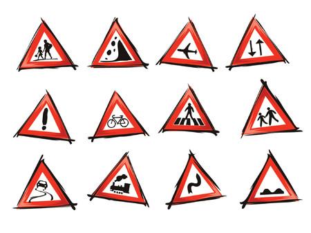 illustration of traffic signs, icon set