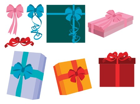ribbons: GIFT BOXES WITH RIBBONS Illustration