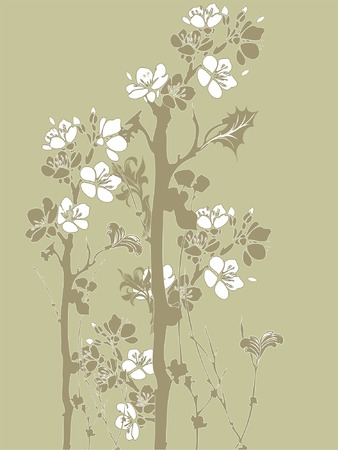 Illustration of Japanese style flowers over green