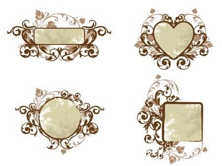 kahverengi: Brown Floral Banner Collection