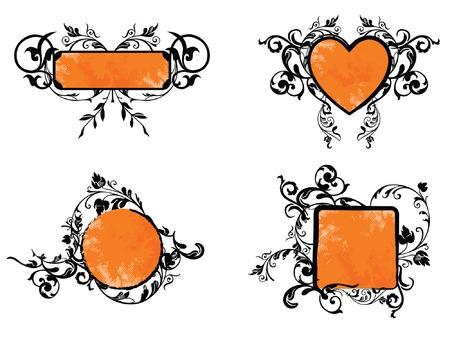 Orange Floral Banner Collection Illustration