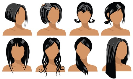 illustration of female hair styles  Stock Vector - 1470290