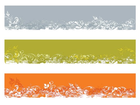 3 different color floral and grunge website banner