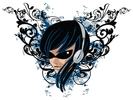 Girl with headphones on grunge floral banner Vector