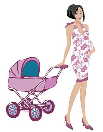 Pregnant mom with cute dress  dragging a pink stroller Vector