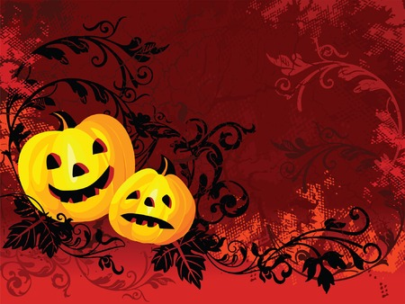Halloween images on red floral background Vector