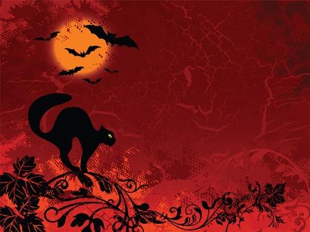 silueta de gato: Halloween imágenes sobre fondo rojo floral