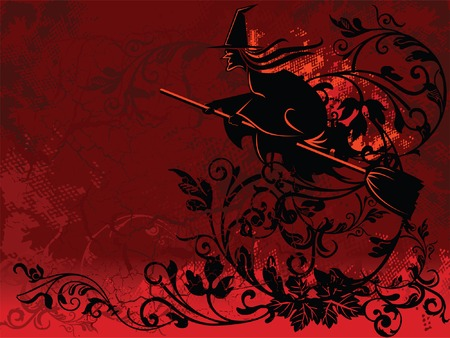 Halloween witch flying over red floral background