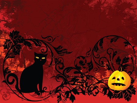 halloween images on red floral background Illustration