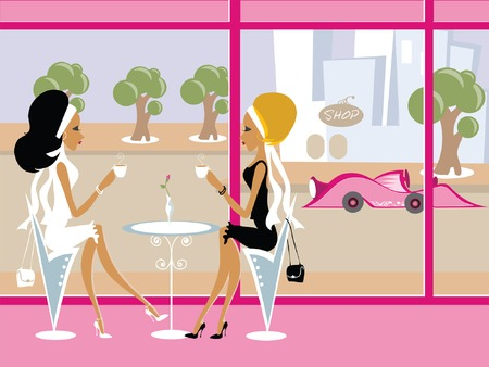 chic woman: Mss Boo having coffee with a friend
