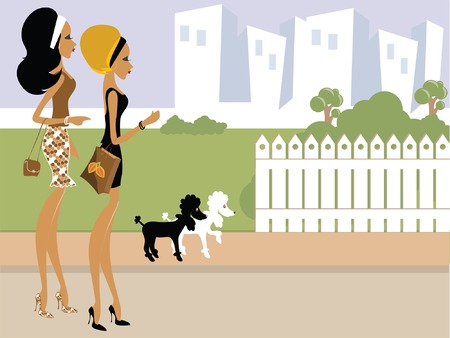 Miss Boo taking her dog outside for a walk Vector