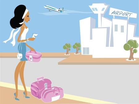 billets d avion: Miss Boo � l'a�roport pr�t pour les vacances