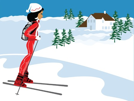 Miss Boo skiing at Aspen in red ski suit